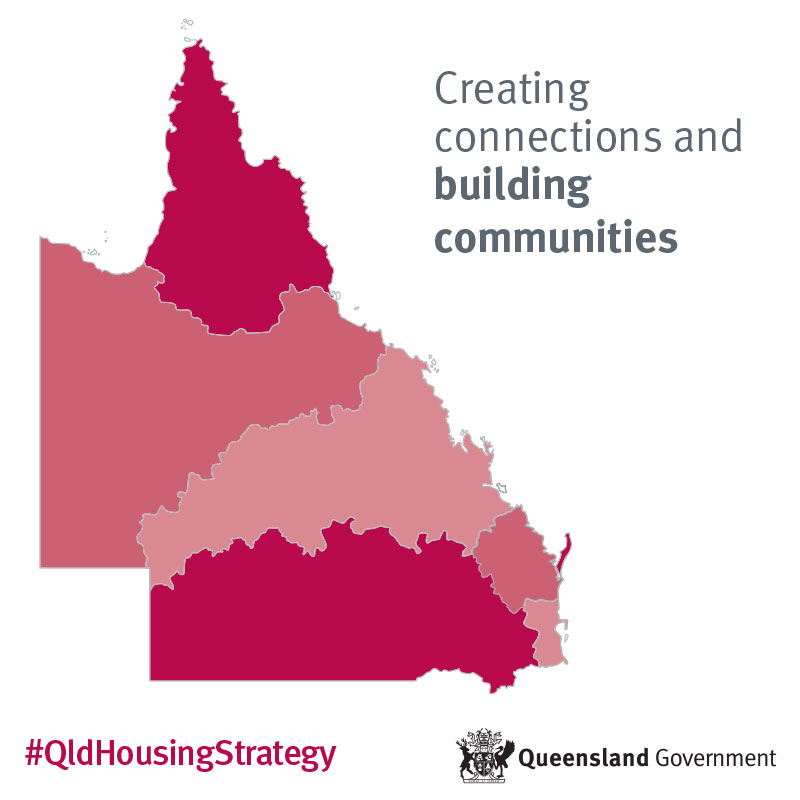 Queensland State map with 'Creating connections and building communities'.